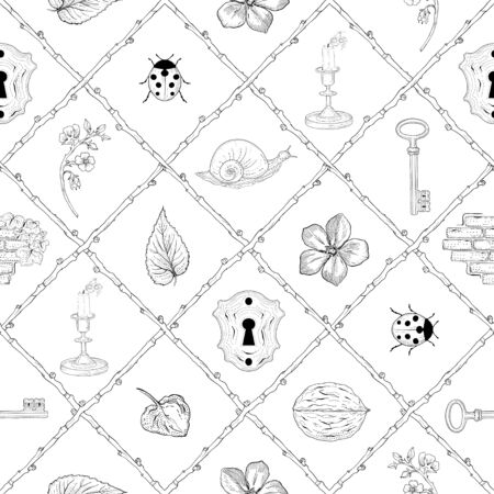 beautiful mysterious place hand drawn seamless pattern Vector