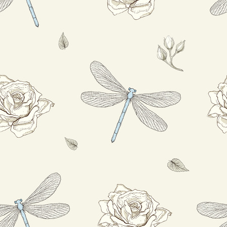 hand drawn dragonflies and roses buds seamless pattern vintage engraving style Illustration