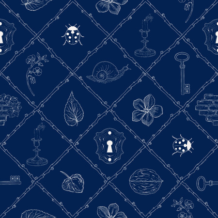 mysterious place hand drawn seamless pattern Vector