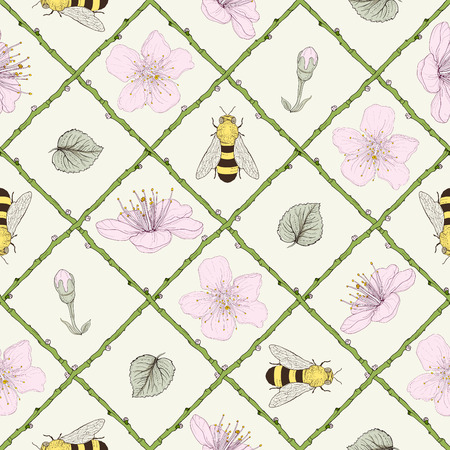 hand drawn bees and blossoms in branch lattice seamless pattern Vector