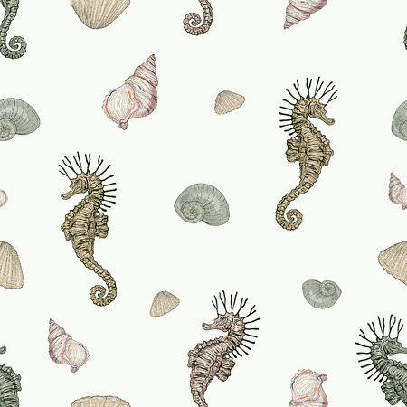 hand drawn seashells and seahorse hippocampus seamless pattern vintage engraving style high detailed Vector