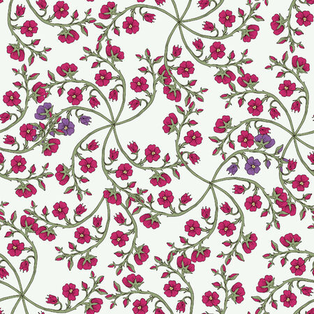 carmine: flores dibujadas a mano patr�n transparente a base de hierbas Vectores