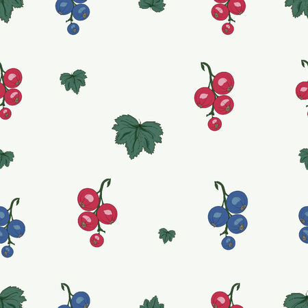 currant berries and leaves seamless pattern