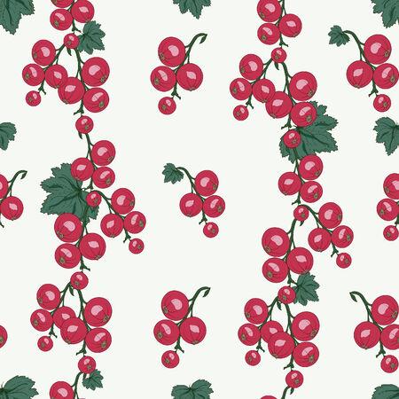 レッドカラント: 赤スグリの果実し、葉のシームレスなパターン