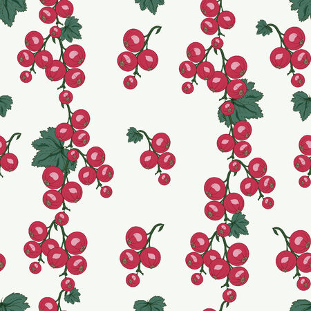 raceme: red currant berries and leaves seamless pattern