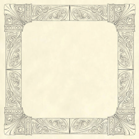 Ornate frame in vintage engraving style on blank old paper background template Vector