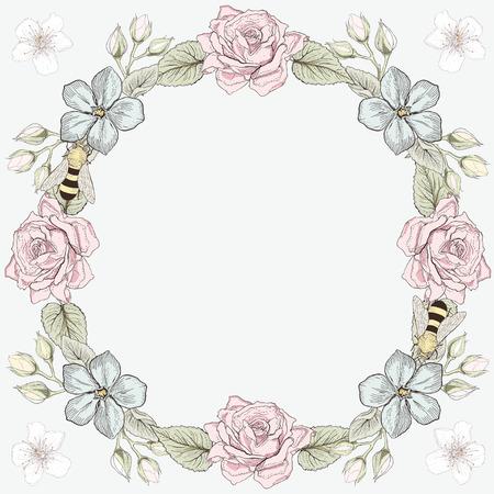 Dibujado a mano la tarjeta del marco floral. Ilustración colorida. El estilo de grabado de la vendimia Foto de archivo - 29385548
