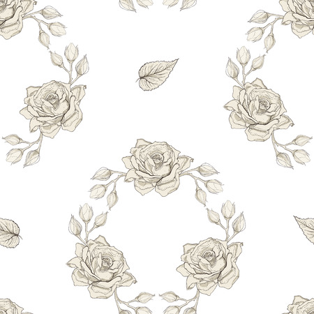 Hand drawn roses wreath seamless pattern. Vintage engraving style Vector