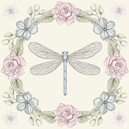 古美術品: 手描きの花のフレームとトンボ。カラフルなイラストです。ビンテージ彫刻スタイル