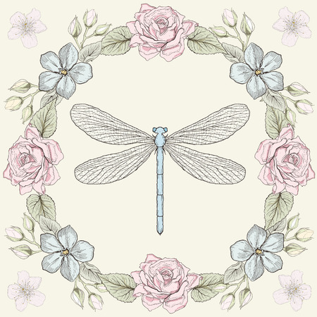 Hand drawn floral frame and dragonfly. Colorful illustration. Vintage engraving style Vector