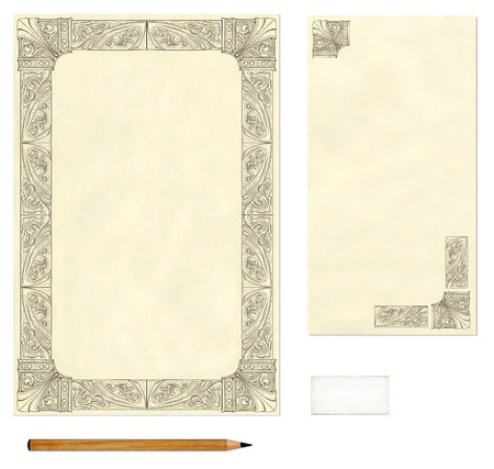 brief papier: Vintage briefpapier en enveloppen met decoratieve frame met potlood en gum template Stockfoto