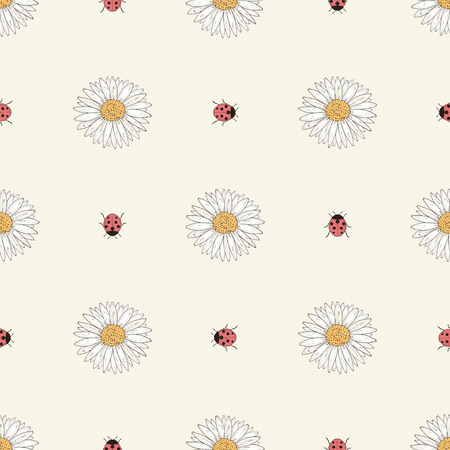 Hand drawn flowers and ladybirds seamless pattern. Colorful illustration. Vintage engraving style Vector