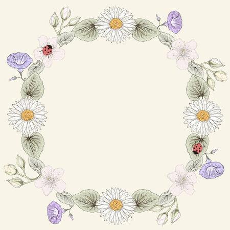 Hand drawn floral frame. Ornate colorful illustration. Vintage engraving style Vector