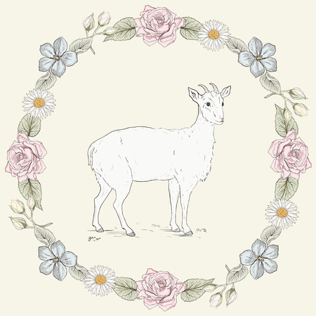Hand drawn goat and floral frame with roses and ox-eye daisies. Ornate colorful illustration. Vintage engraving style Vector
