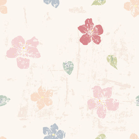 peachy: Grunge floral seamless pattern