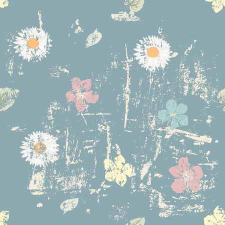oxeye: Grunge floral seamless pattern