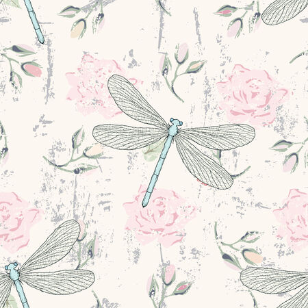 Grunge floral seamless pattern with hand drawn roses buds and dragonflies