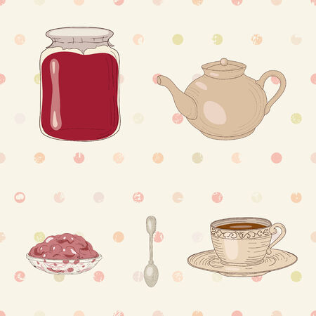 confiture: Set of jam jar, tea cup, pot, spoon and jelly dish on polka dot seamless background