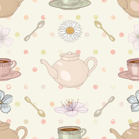 camomile tea: Floral tea cute seamless pattern