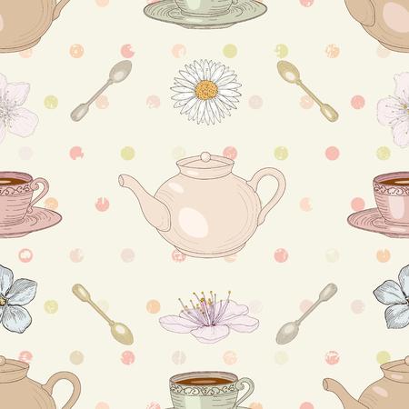 camomile tea: Floral tea cute seamless pattern