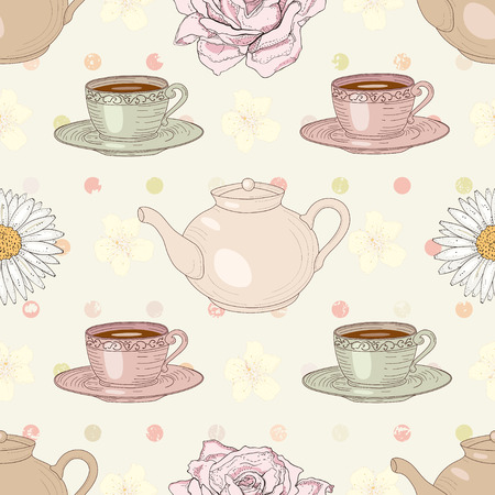 Herbal tea rose and chamomile with cups and teapots on polka dot background seamless pattern Vector