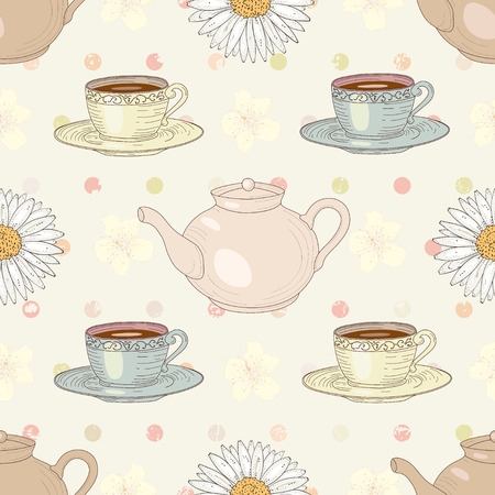 Herbal chamomile tea with cups and teapots on polka dot background seamless pattern. Vintage engraving style Vector