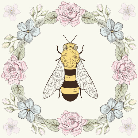bee on white flower: Hand drawn floral frame and honey bee. Ornate colorful illustration. Vintage engraving style Illustration