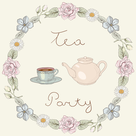 Teapot and cup with tea in floral frame of roses and daisies. Ornate colorful illustration. Vintage engraving style Vectores