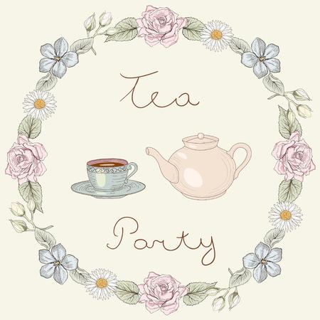 Theepot en kop met thee in bloemen frame van rozen en madeliefjes. Sierlijke kleurrijke illustratie. Vintage graveren stijl