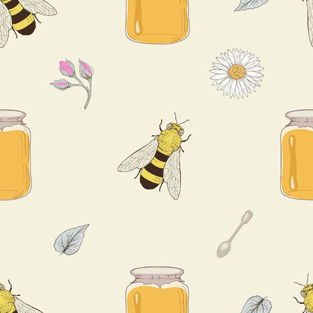 Hand drawn honey jars, spoons, bees and flowers seamless pattern. Vintage engraving style Vector