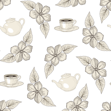 pot: Hand drawn floral seamless pattern with tea pots and cups. Vintage engraving style