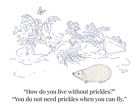 Hedgehog and Butterfly. Funny dialogue. Ilustrace