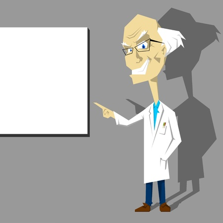 School teacher or medical doctor in white coat presenting, pointing or showing a blank sign or board. One of the similar cartoon characters. Layered vector illustration.