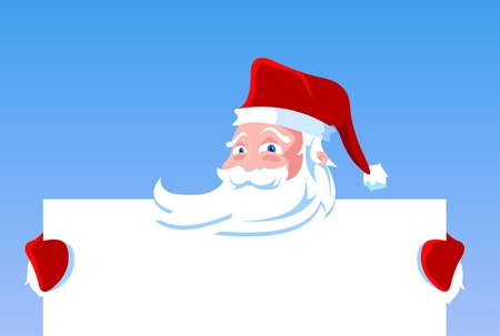 Cartoon Santa Claus holding blank banner, sign or paper.  Vector