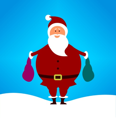 Simple cute cartoon Santa carrying begs full of present. Vector