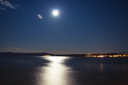 over the moon: Bright moon over the sea at night