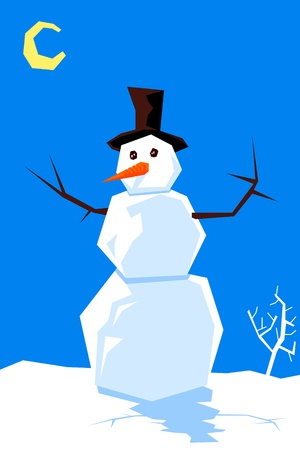 Stylish snow man or snowman. One of the similar cartoon characters. Vector