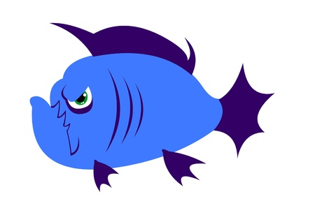 Cute simple cartoon angry piranha fish. Vector