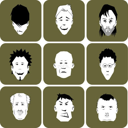 Collection of different cartoon men or male faces. Layered vector illustration.  Vector