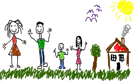 Little child drawing family and house with tree. Hand drawing style. Layered vector illustration.  Illustration
