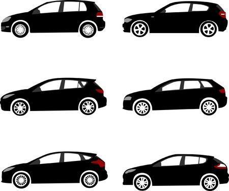 white car: Set di sagome moderne auto compatte Vettoriali