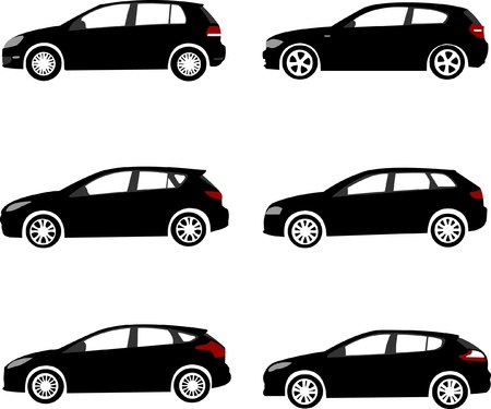 car wheels: Set of modern compact car silhouettes Illustration