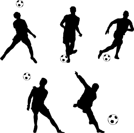 soccer pass: Soccer players in action silhouettes