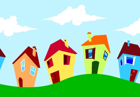 Cartoon seamless houses Stock Vector - 12076731
