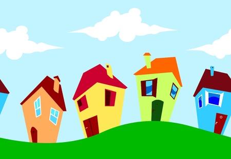 row of houses: Dibujos sin costura casas