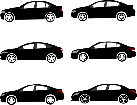 Set of modern mid-sized or large family cars silhouettes. Stock Vector - 12209530