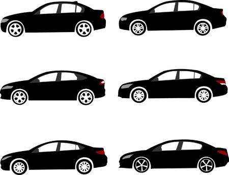 Set van moderne middelgrote of grote gezinsauto's silhouetten.