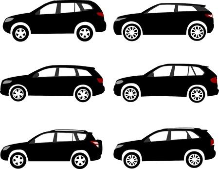 Reihe von modernen Offroad-oder Sport Utility Vehicles sihlouettes