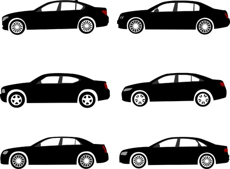 Set of modern full size or executive car silhouettes. Layered vector illustration. Illustration