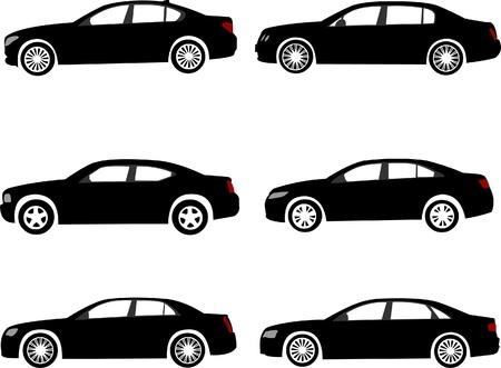 Set van moderne full size of uitvoerend auto silhouetten. Gelaagde vector illustratie.